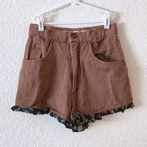 90s Brown Jean High Waist Shorts Ruffle Fabric Hem